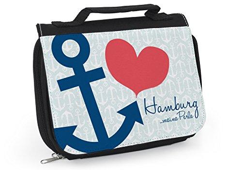Maritimer Kulturbeutel, Waschtasche Anker, Tasche Hamburg, Herz, Anker, Maritimes Geschenk, Geschenkidee Hamburg, Hamburg Meine Perle, WT043