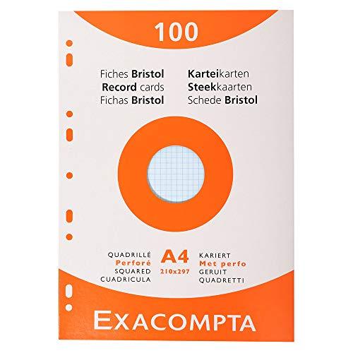 Exacompta 13656E Etui refermable de 100 fiches bristol 21 x 29,7 cm quadrillées perforées 5 x 5 couleurs assorties ( 25 vertes 25 jaunes 25 roses et 25 bleues )