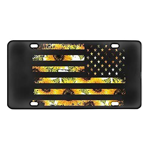 Vintage Sunflower American Flag Car License Plate Cover Novelty Custom Auto Tag Automotive License Plate Covers Vehicle Decorative Gift for Men Women Girls Boys