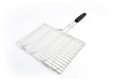Fish Grilling Basket - Trout BBQ Grill Basket - Holds 4 Whole Fish - Stainless Steel With A Soft Grip