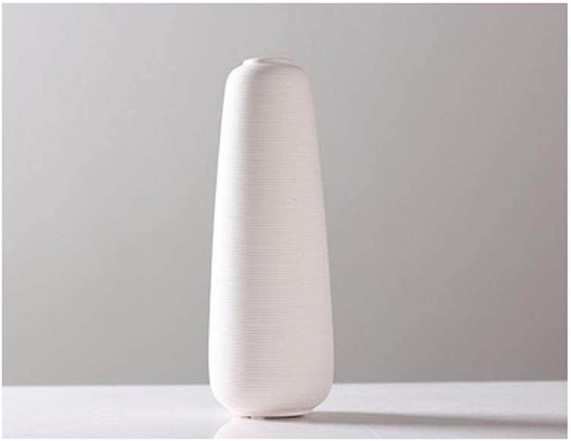 SHWSM Vase Décoration De Vase en Céramique Blanche Maison De Décoration De Vase à Sec Artisanat OrneHommests (Taille   10.4cm×30cm)