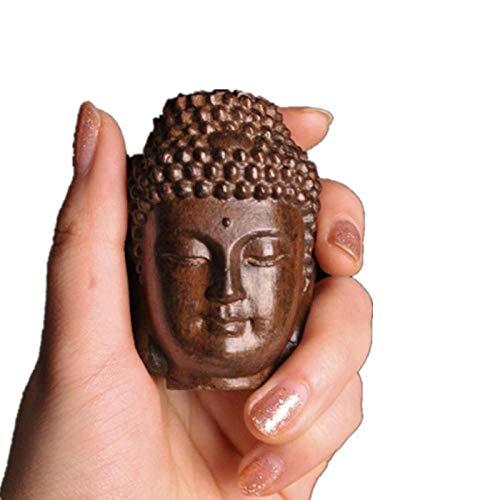 ZZWEJ Adornos en Miniatura Estatua de Madera de Sakyamuni Estatua de Buda de Madera Estatuillas de Tathagata Creativas Artesanías de Cabeza de Buda de Caoba