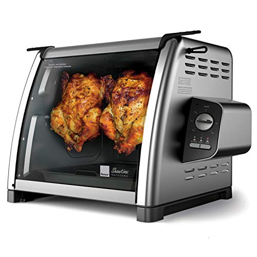 Ronco Showtime Large Capacity Rotisserie & BBQ Oven Modern Edition, Simple Switch Controls, Silicone Door Tie, Perfect Preset Rotation Speed, Self-Basting, Auto Shutoff, Includes Multipurpose Basket