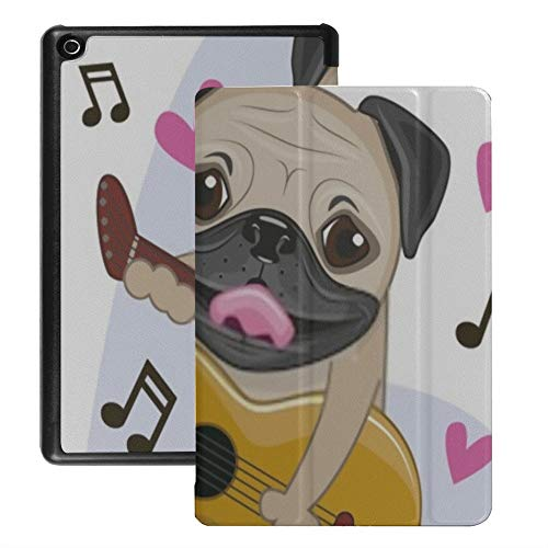 Hd8 Kindle Protective Cover (2018/2017 Released, 8th/7th Generation) Pug Dog Guitar On Background Music Case for All-New Hd8 Tablet