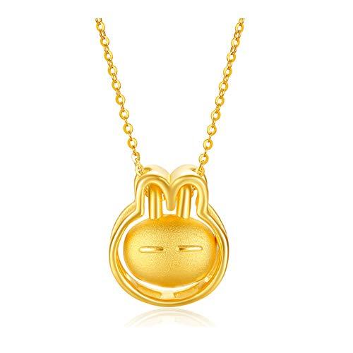 DXMPZB Lindo Conejo Colgante de Oro Amarillo de 24K Collar para Mujer Joyería Perfecto Regalos de Cumpleaños San Valentín