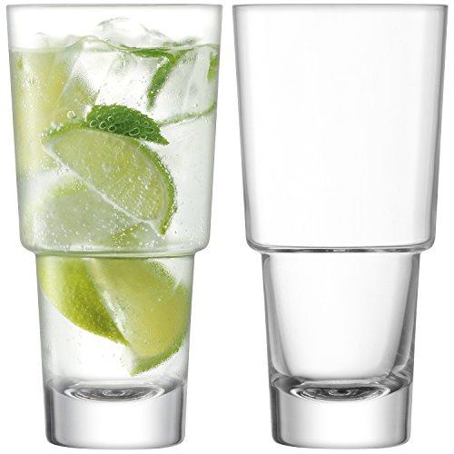 LSA International Mixologist Cocktail Highball Transparent 400 ML X 2, 7.7 x 7.7 x 15.7 cm