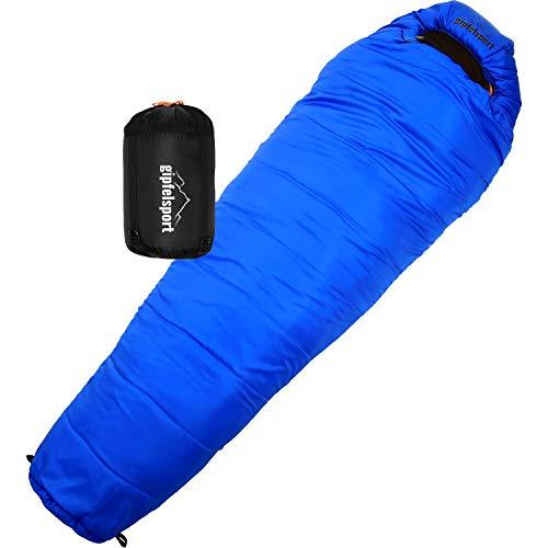 gipfelsport Mumienschlafsack - Outdoor Schlafsack für Erwachsene und Kinder | Mini Sleeping Bag für Winter, blau