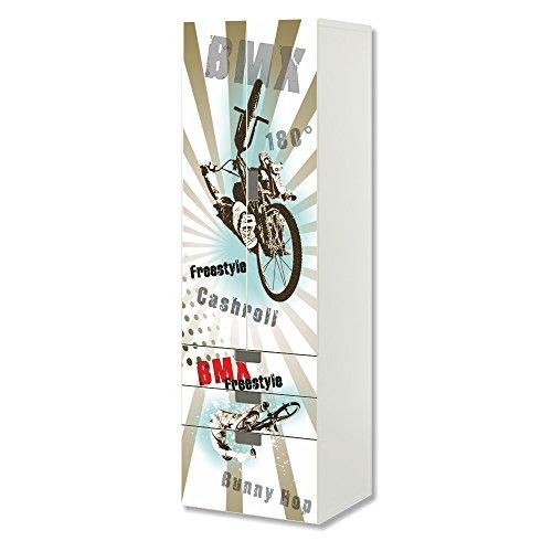 STIKKIPIX BMX Bike Möbelfolie | SC3K11 | passend für die Kinderzimmer Aufbewahrungskombination STUVA von IKEA | Klebe-Folie passgenau für Schrank und Kommode mit 3 Fächern | Möbel Nicht Inklusive