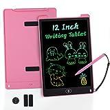 KidsPark Tableta de Escritura LCD para Niños, Tablero de Dibujo de Luz Colorida de 12 Pulgadas, Cuaderno de Dibujo de Escritura a Mano Portátil para Niños, Niñas, Adultos, Rosado