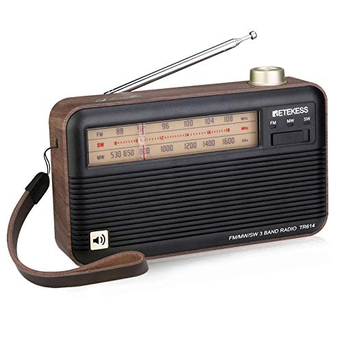 Retekess TR614 Retro Shortwave Radio with Best Reception, Wood Radios Portable AM FM, Analog Radio Vintage Powered by Battery, Easy Used for Elder