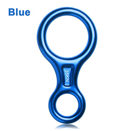 Multifunction 14.6*7.5cm 8 Word Climbing Ring Rope Descender Gear Belay Device Downhill Eight Rings 35KN Figure Rock Climbing Descenders for Dog Leash, Rappelling, Keychain, ( Color : Blue )