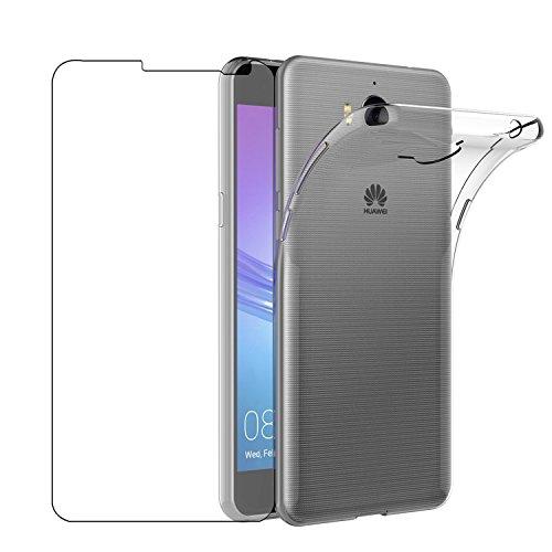Custodia Huawei Nova Young Cover + Pellicola Protettiva in Vetro Temperato , Leathlux Morbido Trasparente Silicone Custodie Protettivo Bumper Chiaro...