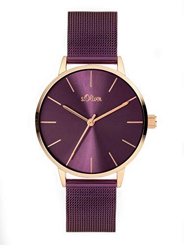 s.Oliver Damen Analog Quarz Uhr mit Edelstahl Armband SO-3975-MQ