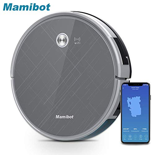 Mamibot EXVAC660 Robot Vacuum Cleaner with 2000Pa Super Power Suction Compatible with Alexa and Google Assistant, WiFi APP Control Auto-Charging Mopping&Sweeping Robot for Pet Hair Hard Carpet &Floor