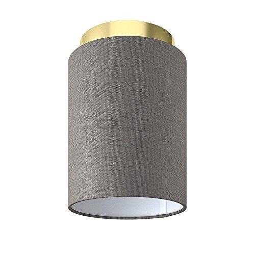 Fermaluce: wand- of plafondspot in messing afwerking metaal met grijze Arenal Cilinder Lampenkap Ø 15 cm h18 cm