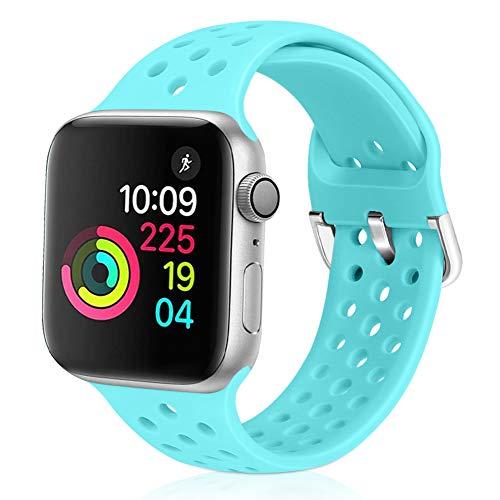 Vodtian - Cinturino sportivo per Apple Watch, 42 mm 44 mm, morbido silicone traspirante, compatibile con iWatch Serie 5/4/3/2/1 per donne e uomini