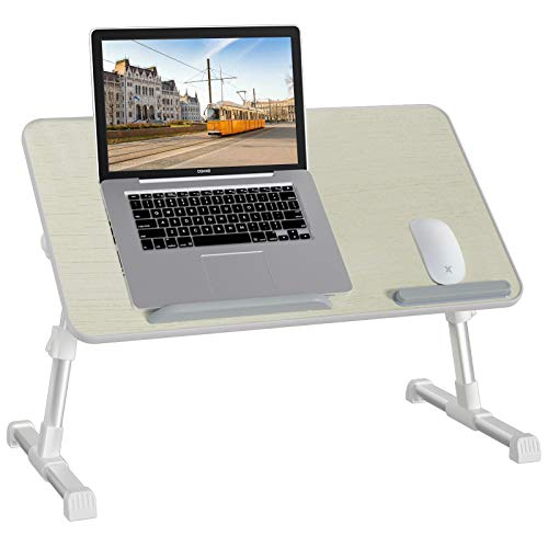 Rentliv Laptop Bed Tray Table, Adjustable Laptop Stand with Foldable Legs, Portable Lap Desk for Working, Writing, Drawing, Eating, Gaming, Computer Tray for Bed Sofa Couch Floor- White Large Size