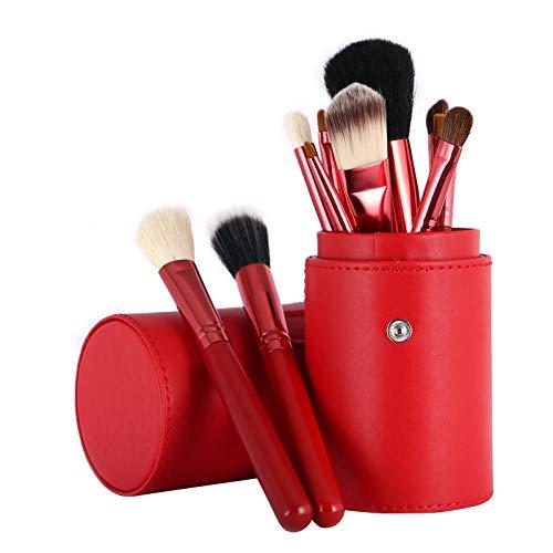 MPKHNM 12-barrel brush bucket brush wooden handle beauty makeup tool tube drum makeup brush set red