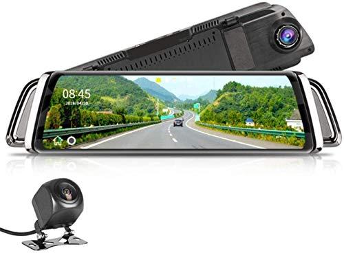 """Yunbb dash cam, Touch Screen 10"""" Car DVR Dash Cam G-sensor fronte duplice obiettivo della fotocamera 1080P registratore video fotocamera specchietto retrovisore dell'automobile 720P scher."""