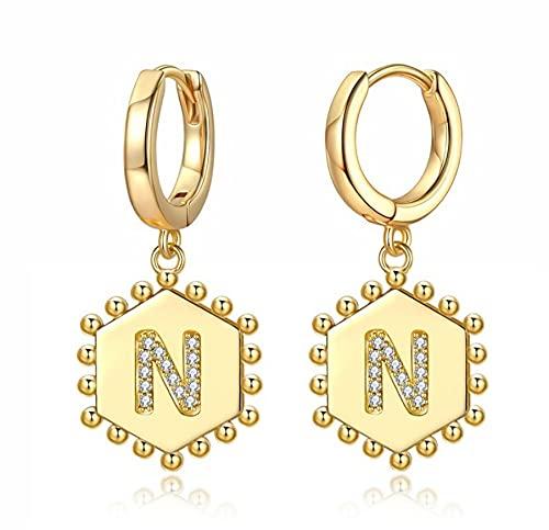 Lsv-8 Pendientes de aro chapados en oro de 14 quilates, con letra inicial, regalo para mujeres y niñas
