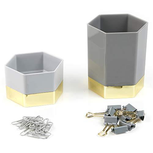 Erin Condren Metallic Hexagon Designer Desk Organizer Accessory Set of 4 - Charcoal Pen & Pencil Cup, Clip Holder, 8 Binder Clips, 20 Paper Clips for Office Desks