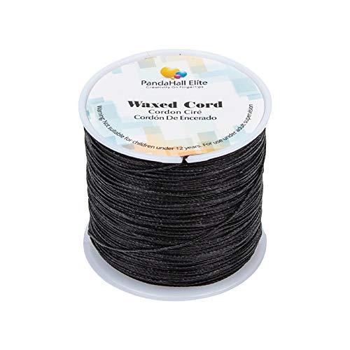PandaHall Elite - Bobina de hilo de algodón encerado redondo para bisutería y suministros de macramé, negro, 106m/roll 0.5mm