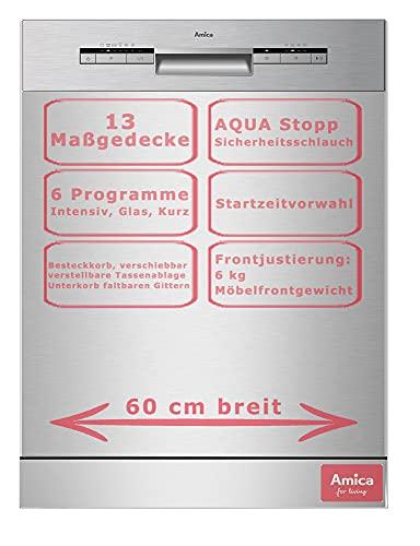 Amica Einbau Geschirrspüler Spülmaschine 60cm unterbaubar, Aqua Stopp, 13 Maßgedecke EGSPU 513 910-1 E