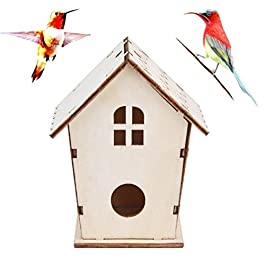 sunnymi Fashionble Wooden Bird Box, Nesting Nest Box House Bird House for Garden Decor