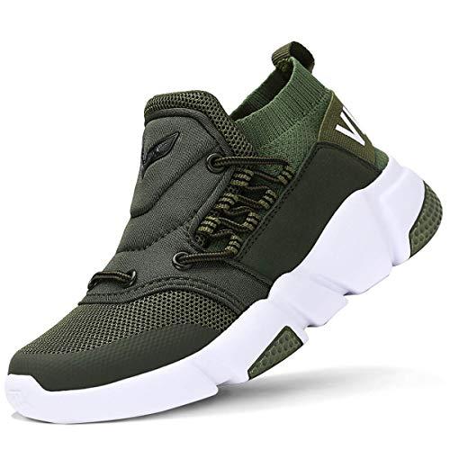 VITIKE Kinder Schuhe Jungen Schuhe Mädchen Sneaker Damen Sportschuhe Outdoor Schuhe Jungen Turnschuhe Laufschuhe Schnürer Freizeit Sportschuhe Kinder Sneaker, 1-grün, 36 EU