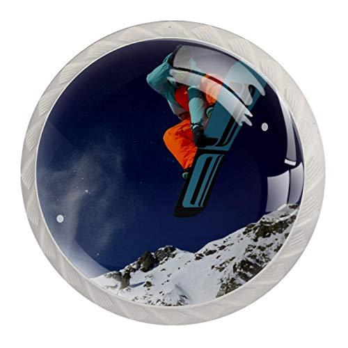 Snowboarden Bergschnee Weiß Kristall Schublade Griffe Möbel Glasschrank Knöpfe Mode Garderobe Tür Schublade Griffe zieht mit Schrauben für Home Kitchen Office Kommode 4 Stk 35mm