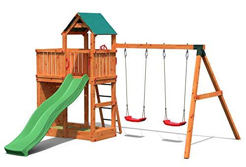 Gartenpirat Spielturm Kletterturm Pirat T2 mit Schaukel, Rutsche und Kletterwand