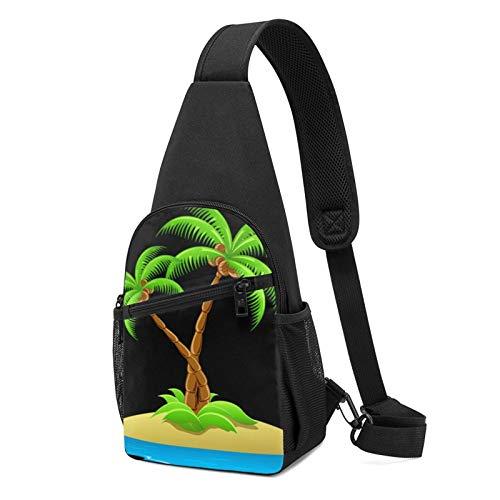 Mochila de hombro impresa con palmera 3D, mochila ligera para el pecho, viaje, senderismo, bolsa de hombro cruzada, color Negro, talla Talla única