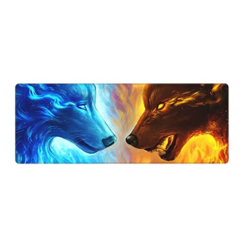 Cool Wolf Gaming Mouse Pad, Long Extended XL Mousepad Desk Pad, Large Non Slip Rubber Mice Pads Stitched Edges, 31.5'' X 11.8''