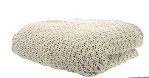 TFH Wohndecke Plaid Strick Decke Tagesdecke Überwurf Kuscheldecke Sofadecke Universaldecke Skandi Look modern (beige)