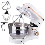 Arebos Küchenmaschine 1500W mit 6L Edelstahl-Rührschüssel | Weiß-Roségold | inkl. Rührhaken, Knethaken, Schneebesen | Spritzschutz | 6 Geschwindigkeiten | Knetmaschine | Teigmaschine