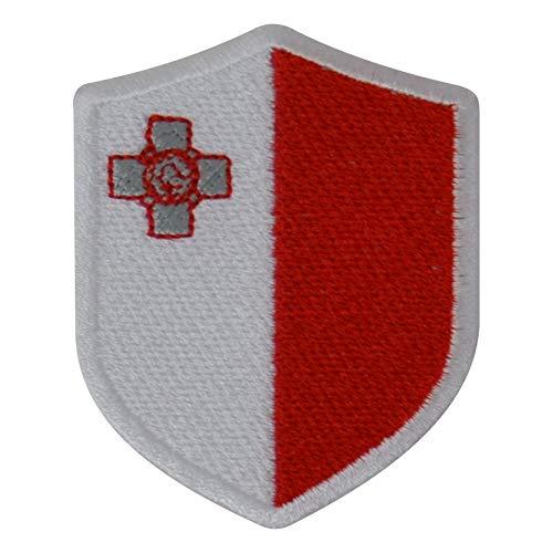 benobler FanShirts4u Aufnäher - Malta - Wappen - 7 x 5,6cm - Bestickt Flagge Patch Badge Fahne (weiße Umrandung)