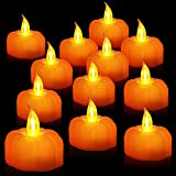 TURNMEON 12 Pack Fall Pumpkin Tea Lights, Led Pumpkin Flame Less Candles Battery Operated Fall Decoration Flickering Candles for Fall Thanksgiving Table Decoration Home Halloween Indoor Party Decor