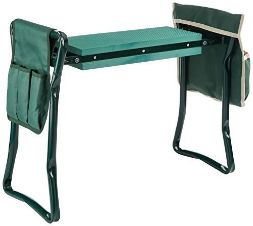 Chicreat Tabouret agenouilloir de jardin, avec 2poches et protections pour genoux intégrées, Vert