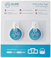 Compatible with the SureFlap Microchip Pet Door and *Cat Flap (*serial numbers higher than 1152201) For use with non-microchipped pets Each collar tag has a unique code and weighs just 2g Collar tag diameter: 25mm Each pack contains two collar tags
