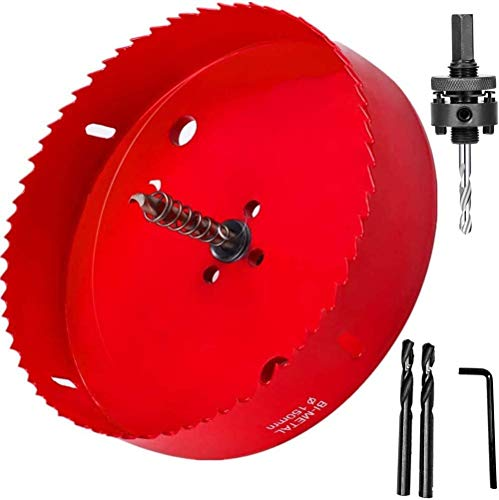 4 Inch Hole Saw with Arbor - Heavy Duty Steel Standard - 4'' for Sawing Holes in Normal Wood, Plywood, Drywall, PVC Board and Plastic Plate