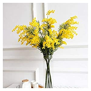 JSJJAED Artificial Flowers 50pcs 57cm Fake Yellow Flower Branch Artificial Plant Mimosa Plastic Leaves Small Pompon Stamper for Dining Table Bedroom Decor