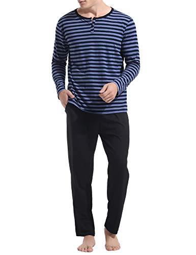 Aibrou Herren WinterPyjama Set, Warm Langarm Zweiteiliger Schlafanzug Langarm Rundhals Blau XL