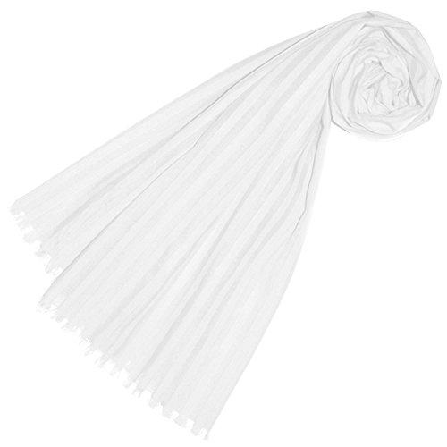 Lorenzo Cana Damen Schal aus feinster Baumwolle mit Seide aufwändig jacquard gewebte dezente Webstreifen Naturfaser Schaltuch Tuch weiss 55 cm x 180 cm - 89228
