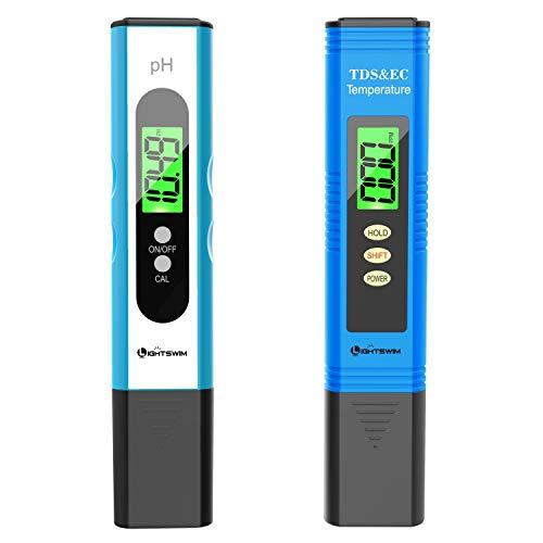 Lightswim Wasserqualitätstester, PH-Meter mit hoher Auflösung von 0,01, 3 in 1 TDS + EC + Temp Meter für Trinkwasser, Aquarium, Pool, Spa (weiß)