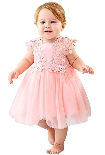 Happy Cherry Robe de Cérémonie Bébé Fille Sans Manches Couches Polyester Tulle Robe de Princesse pour Mariage Soirée Baptême Anniversaire Rose 18-24mois 24M