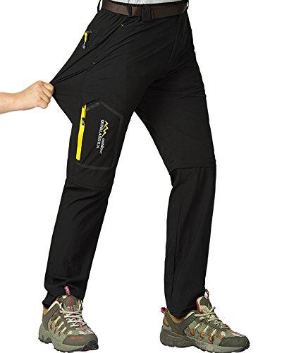 Mens Hiking Stretch Pants Convertible Quick Dry Lightweight Zip Off Outdoor Travel Safari Pants (818 Black 40)
