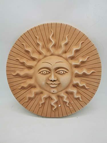 Deko Wandbilder -Sonne und Mond- Terrakotta in verschiedenen Größen -frostfest und witterungsbeständig- QUALITÄTSWARE schöne Dekoration für Garten, Terrasse oder Balkon (Sole Righe 43cm)