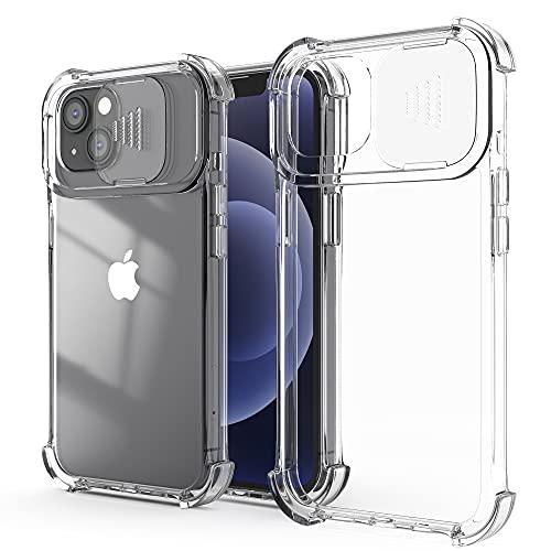XTCASE Funda para iPhone 13, Protección de la Cámara Transparente Carcasa Cubierta de Cámara Deslizante Proteger Ultra-Fina Híbrida PC + TPU Anti-Choque Anti-arañazos