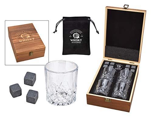 WOMA 8 Whisky Steine mit 4 Whiskey Gläsern & Holz Geschenkbox - Whiskeysteine Geschenkset aus natürlichem Basalt - Eiswürfel Wiederverwendbar