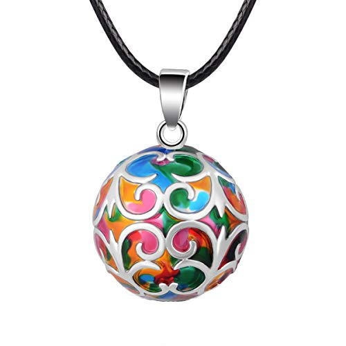 "EUDORA Harmony Ball Necklace Flower-de-luce Colorful Chime Pendant Pregnancy Gift 30"" & 45"" Chian"